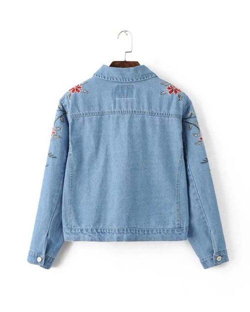 Floral Embroidery Patched Crop Denim Jacket