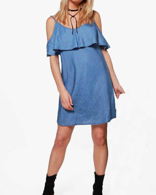 Casual Cold Shoulder Ruffle Denim Dress