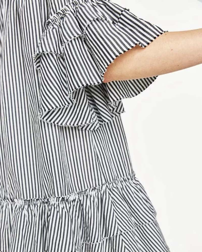 Vertical Striped Flounce Off the Shoulder Dress