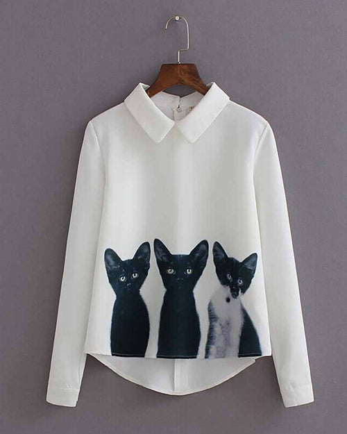 Cat Print High Low Lapel Blouse
