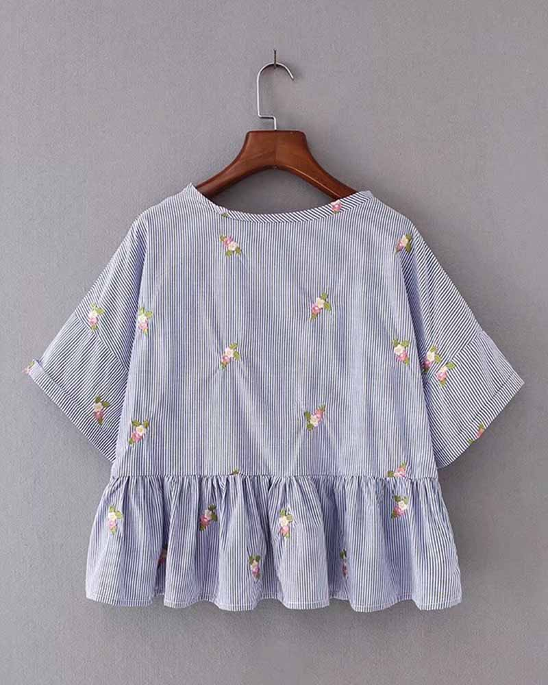 Vertical Striped Flower Embroidered Frilled Hem Blouse