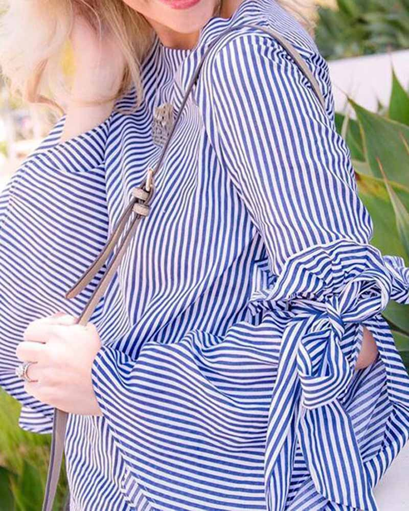 Vertical Striped Bell Sleeve Lace Up Blouse
