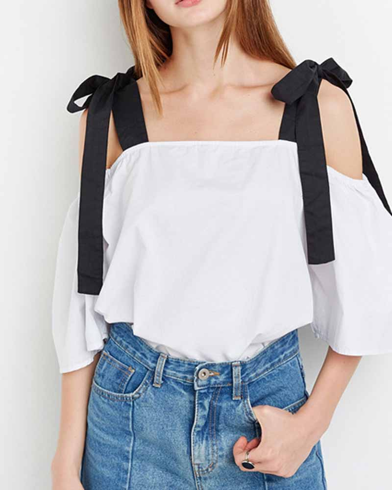 Contrast Tie Cold Shoulder Blouse