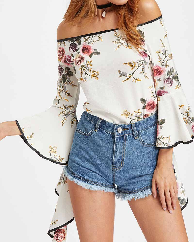 Flower Print Off Shoulder Bell Sleeve Blouse
