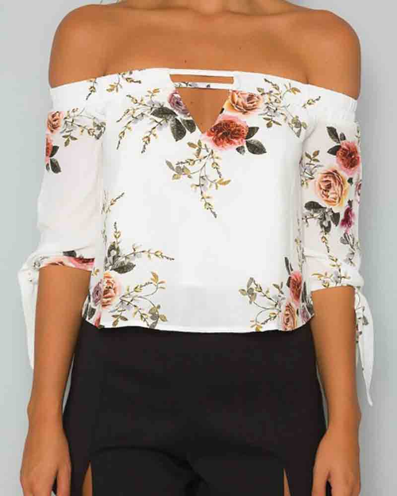 Flower Print Cut Out Tie Cuff Crop Blouse