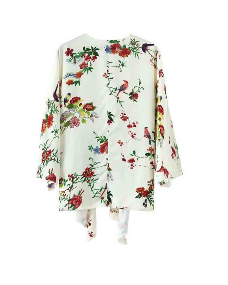 Bird and Floral Print Knotted Kimono