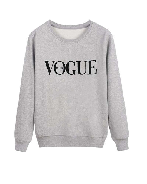 Vogue Print Crew Neck Sweatshirt