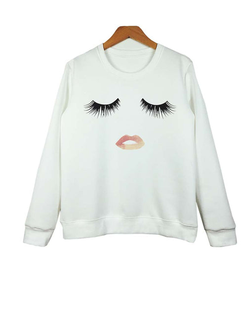 Eyelash and Lip Print Crew Neck Sweatshirt