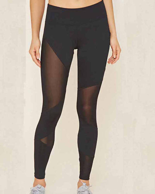 Asymmetric Cut Out Mesh Contrast Leggings