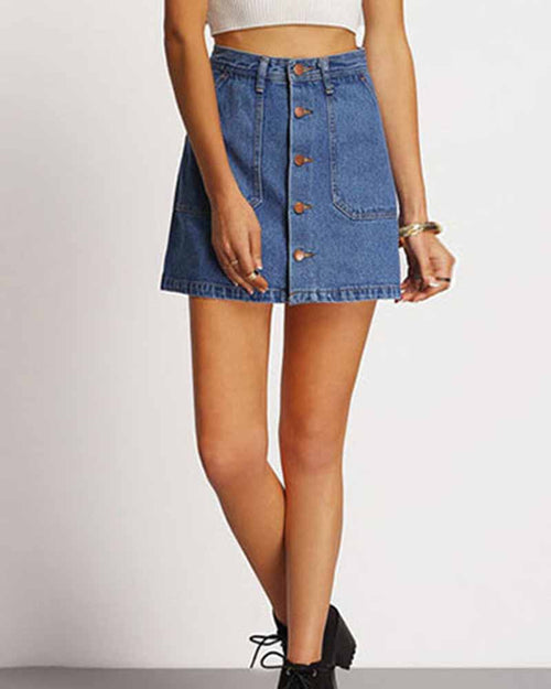 Single Breasted Pockets Front A-line Denim Skirt