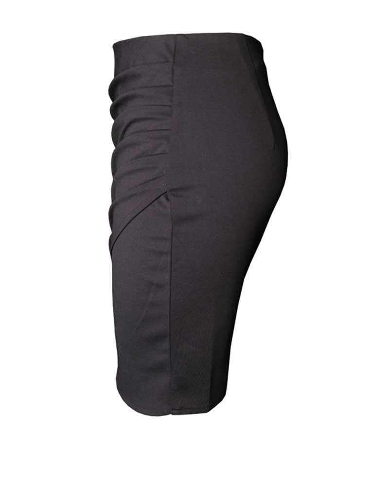 Black Asymmetrical Ruched Overlap Bodycon Skirt