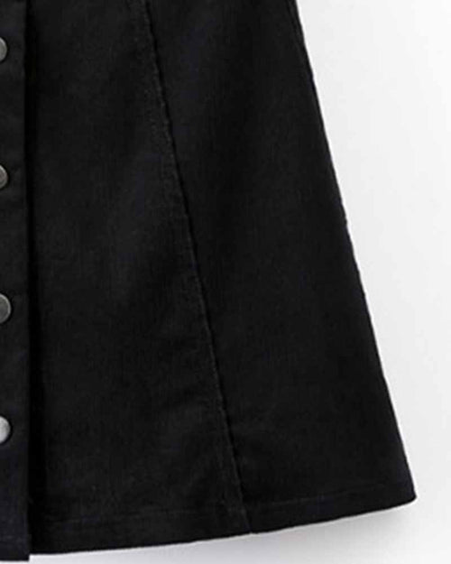 Black Plain Buttoned Front Skirt