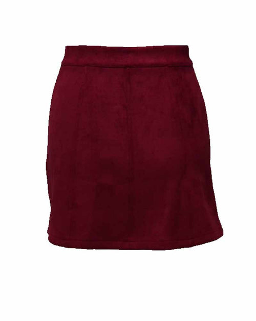 Burgundy Contrast Button Up Suede Skirt