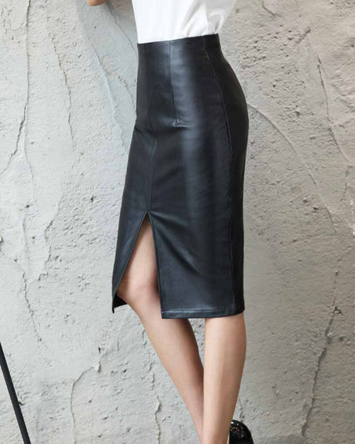 PU Leather Split Bodycon Skirt