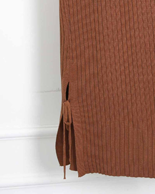 Khaki Lace Up Slit Knit Skirt