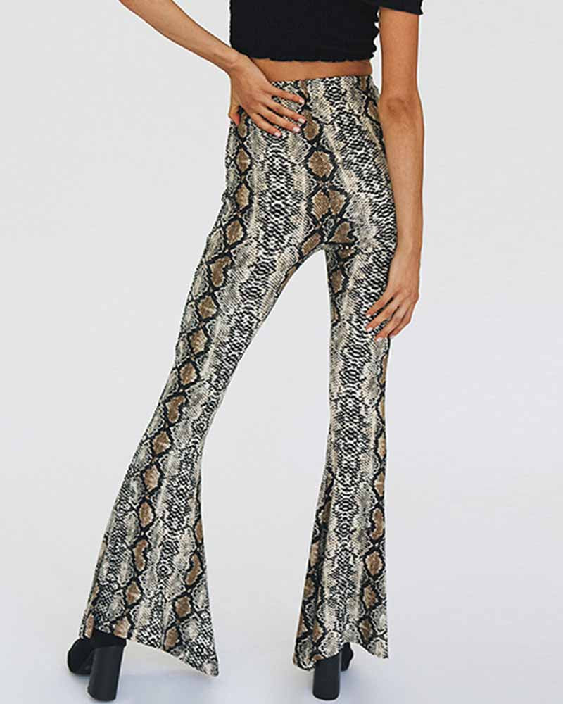 Geometric Print Super Flare Pants