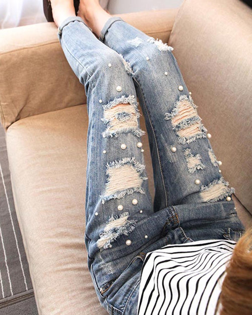 Distress Cut Out Pearl Beading Ankle Jeans