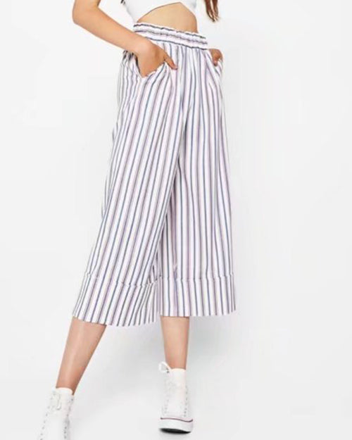 Wide Leg With Pockets Striped Pants