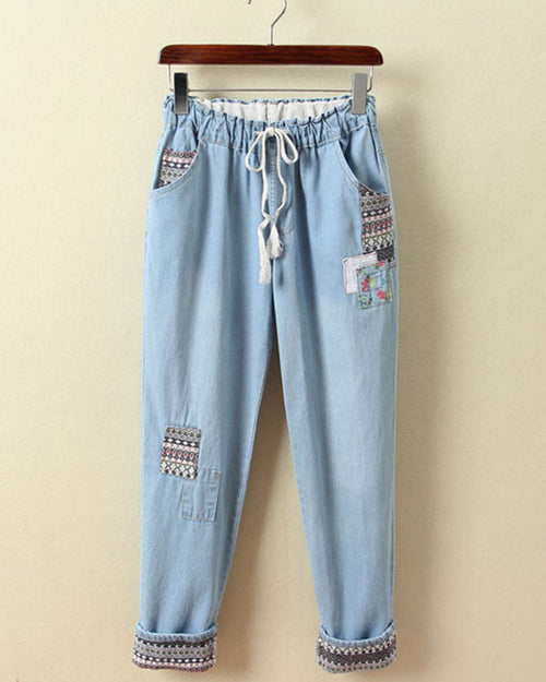 Tribal Embroidered Patched Drawstring Waist Jeans