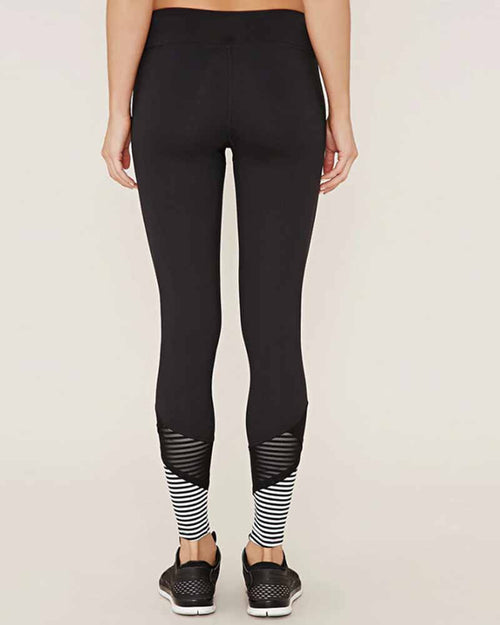 Mesh Contrast Low Waist Striped Leggings