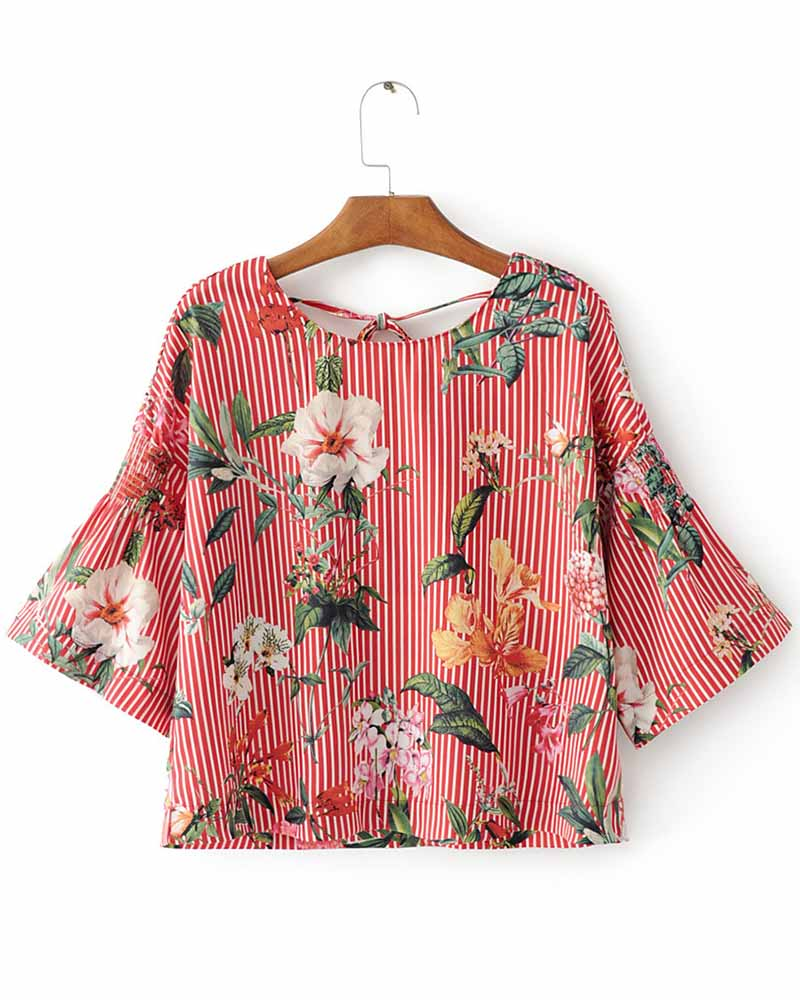 Floral Print Ruffle Lace Up Crop Blouse