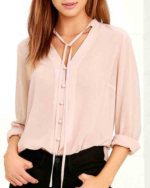 Casual Lace Up V Neck Chiffon Blouse