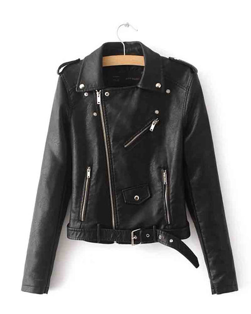 Faux Leather Buckle Belt Epaulet Detail Moto Jacket