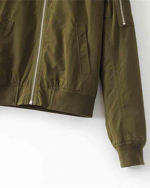 Army Green Drop Shoulder Zipped Bomber Jacket