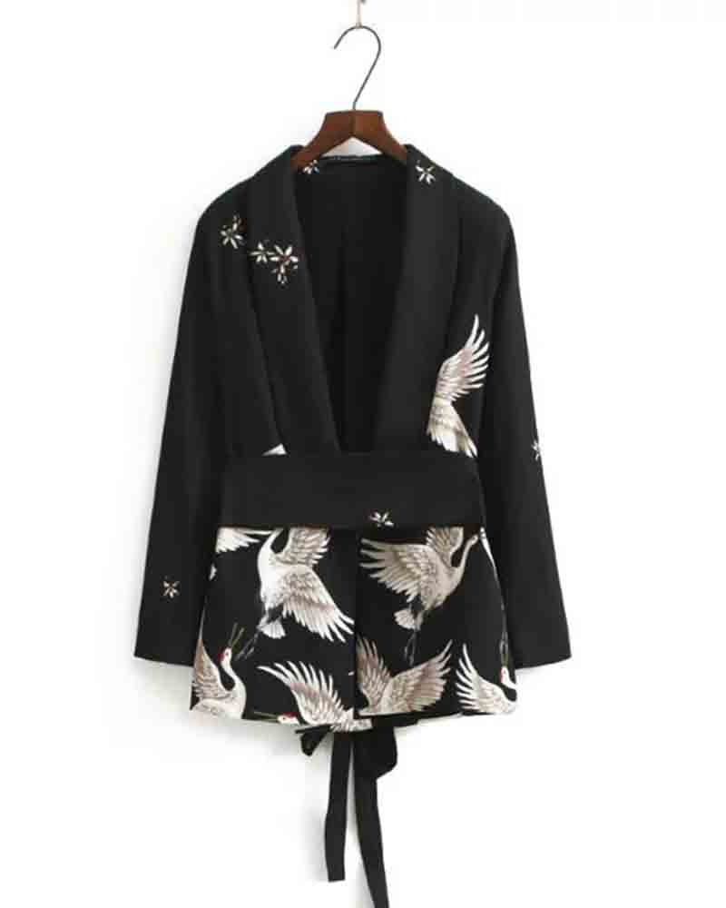 Crane Flower Print Lace Up Lapel Blazer