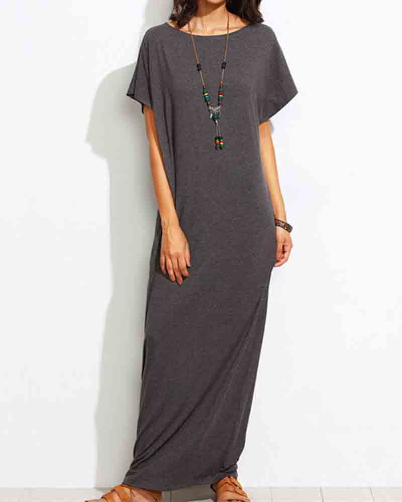 Casual Grey Short Sleeve Maxi Dress