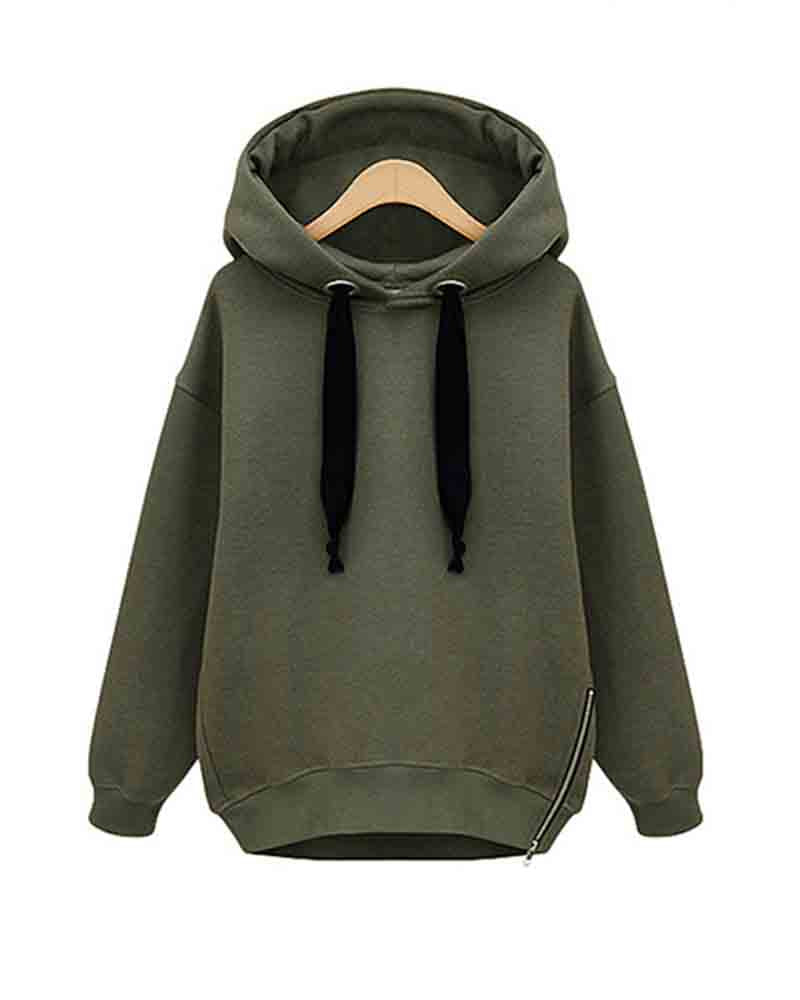 Hooded Eyelet Zipper Loose Sweatshirt