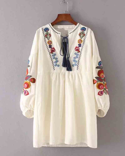 Floral Embroidered Tassel Tie Two Piece Dress