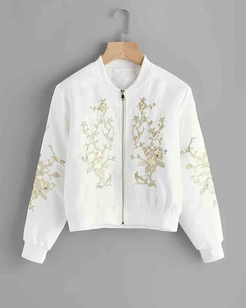 Flower Embroidered Sequin Detail Jacket