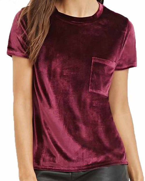 Crew Neck With Pocket Velvet Tee
