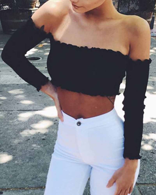 Off the Shoulder Long Sleeve Crop Tee