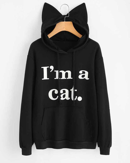 Slogan Print Cat Ear Hooded Sweatshirt