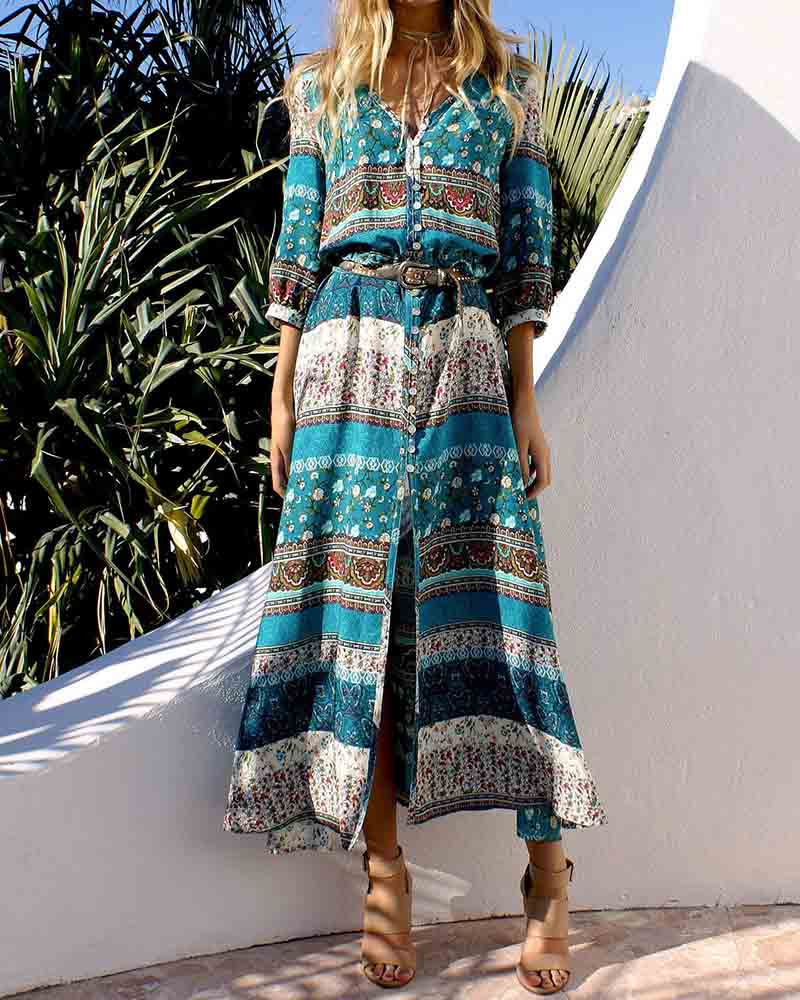 Green Print V Neck Vintage Maxi Dress