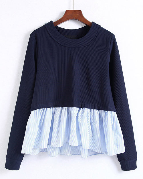 Striped Frill Hem Babaydoll Sweatshirt