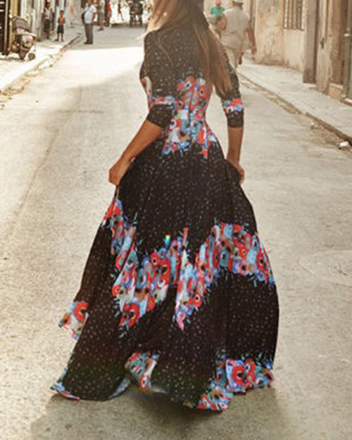 Vintage Print Deep V Neck Bohemian Dress