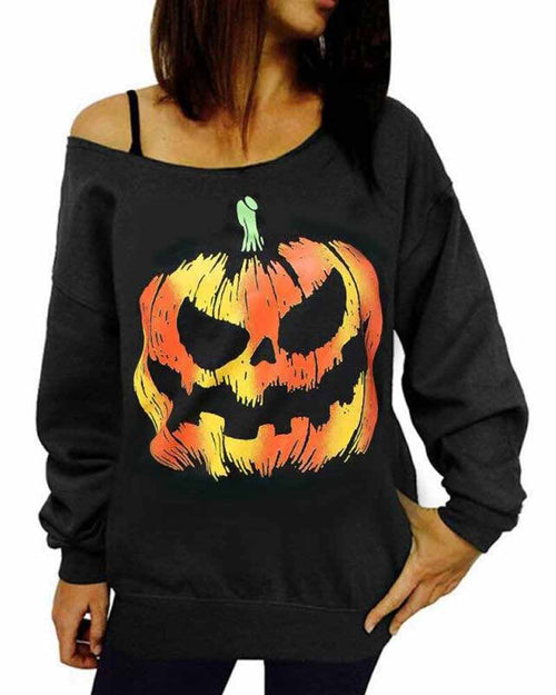 Pumpkin Print One Shoulder Sweatshirt