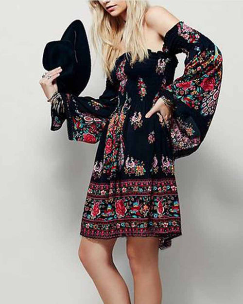 Vintage Print Off the Shoulder Lantern Sleeve Dress