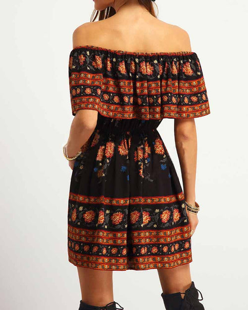 Vintage Print Off the Shoulder Ruffle Hem Dress