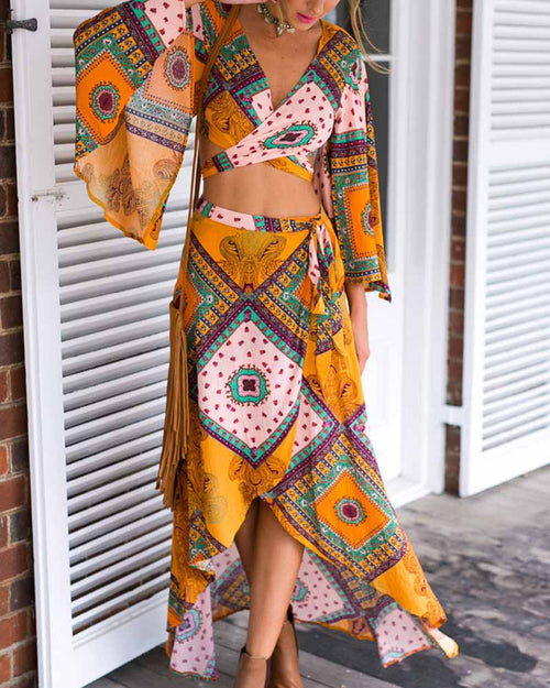 Asymmetric Print V Neck Lantern Sleeve Top With Self Tie Skirt