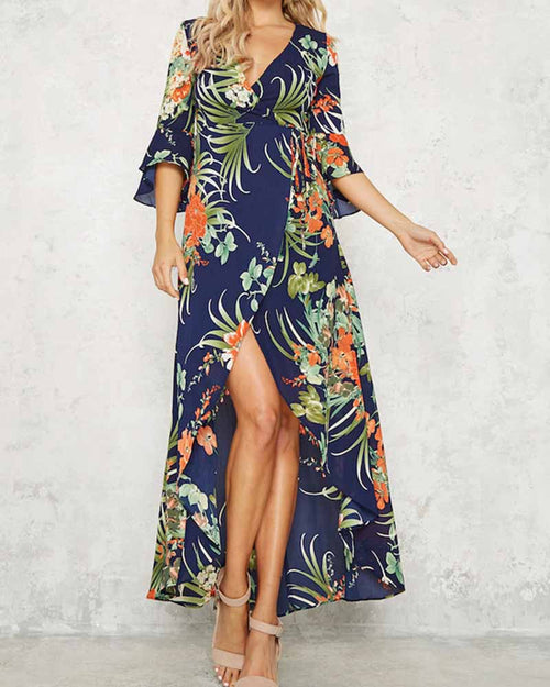 Deep V Neck Flower Print Split Dress