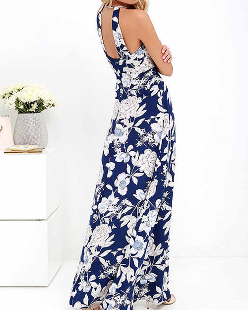 Flower Print Bare Back Halter Dress