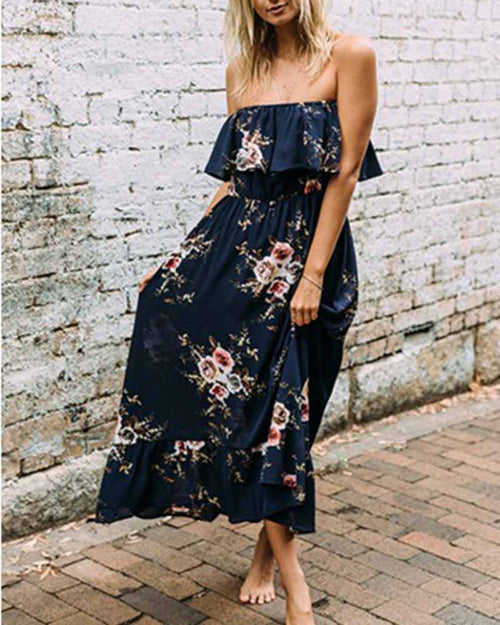 Vintage Print Ruffle Hem Off the Shouder Dress