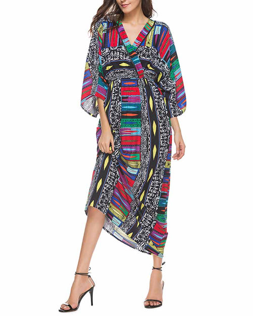 Graphic Print Deep V Neck Bell Sleeve Dress