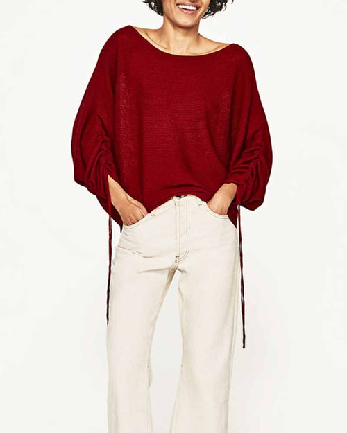 Red Shirred Sleeve Drop Shoulder Sweater