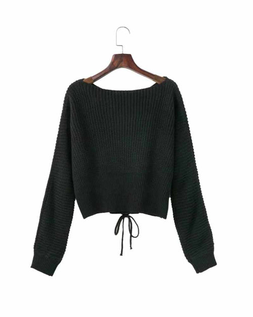 Black Lace Up Crop Sweater
