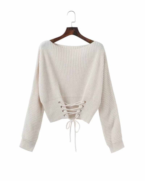 White Lace Up Crop Sweater